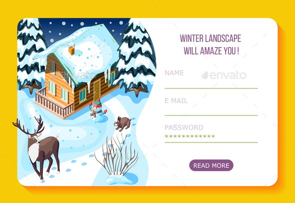 Winter Landscaping Isometric Landing Page - Buildings Objects