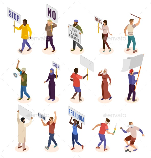 Activists Isometric Icons Set - Miscellaneous Vectors