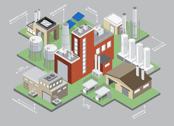 Industrial Buildings Isometric Infographic Set - Buildings Objects