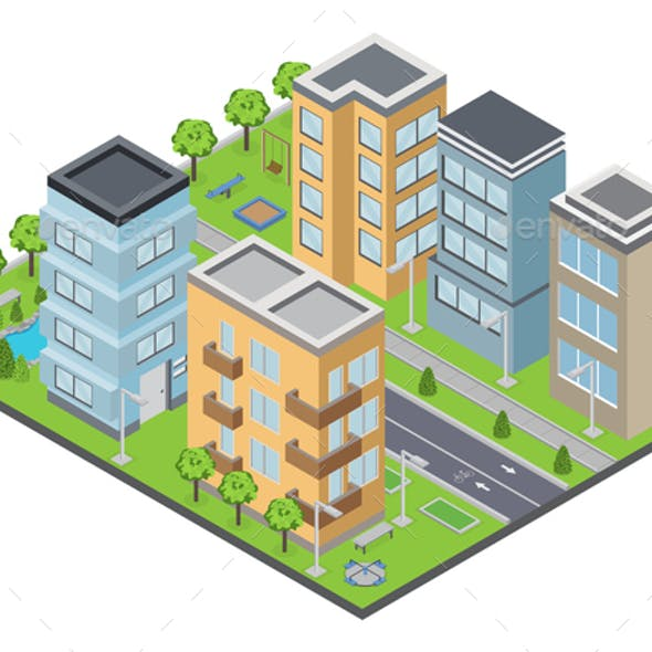 Suburbia Buildings Composition