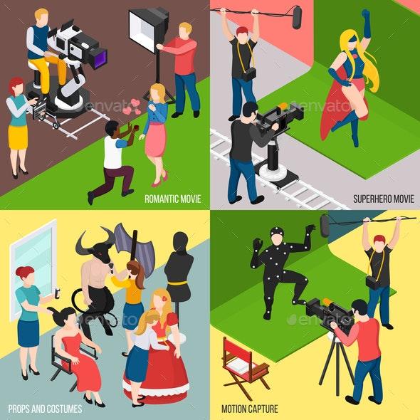 Cinema Isometric Design Concept - People Characters