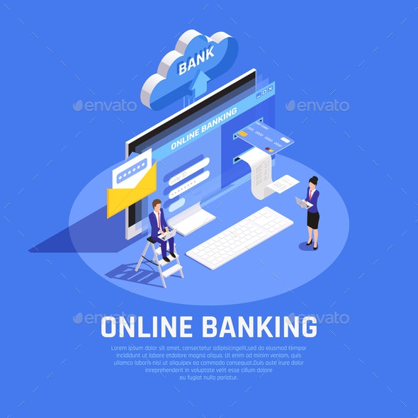 Online Banking Isometric Composition - Business Conceptual