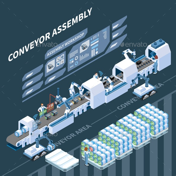 Smart Assembly Line Isometric Composition - Industries Business