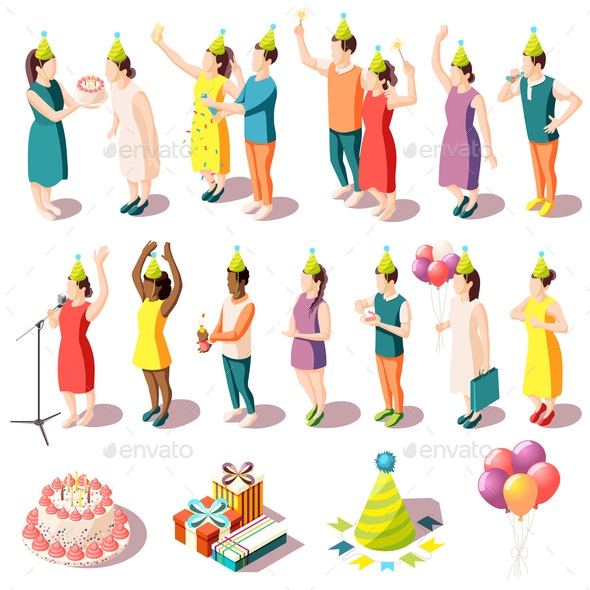 Birthday Party Isometric Icons Set - Seasons/Holidays Conceptual