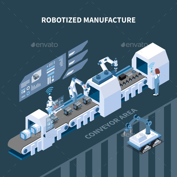 Robotized Manufacturing Isometric Composition - Industries Business