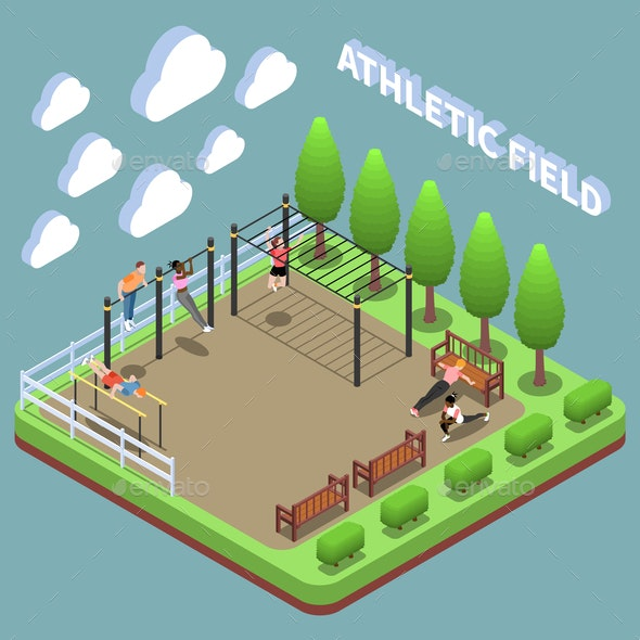 Sports Ground Isometric Composition - Sports/Activity Conceptual