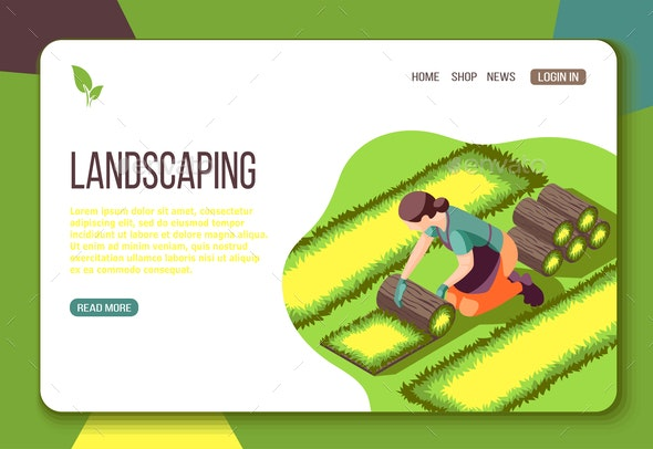Landscaping Isometric Web Landing Page - Computers Technology
