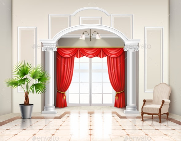 Luxury Curtains Realistic Interior Design - Objects Vectors