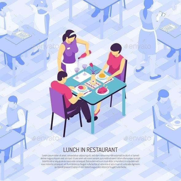 Restaurant Waiter Isometric Illustration - Food Objects