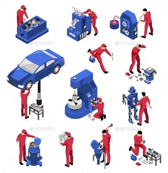 Isometric Mechanic Service Set - People Characters