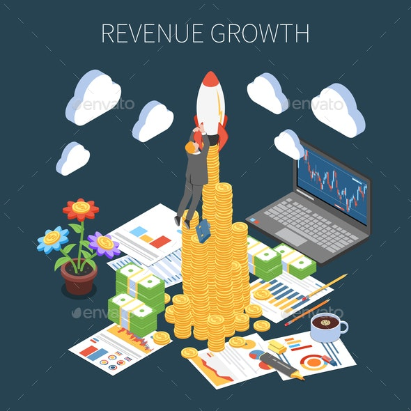 Revenue Growth Isometric Composition - People Characters