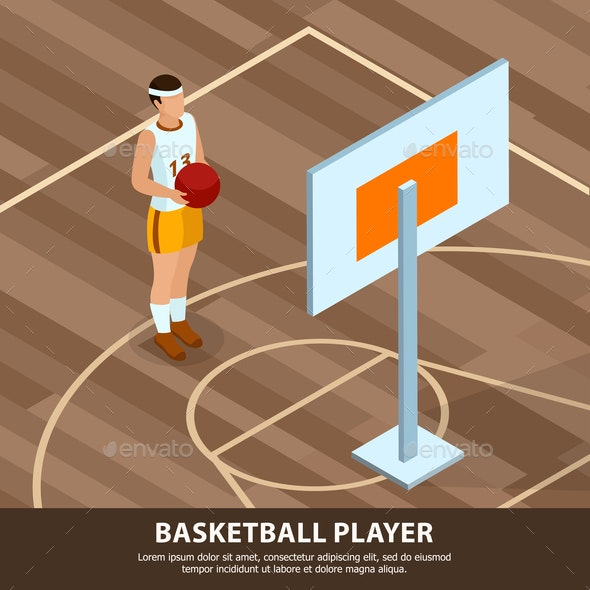 Basketball Player Professions Isometric Background - People Characters