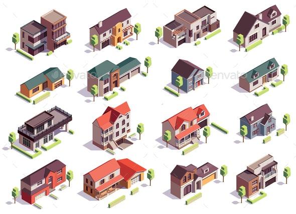 Suburbian Buildings Isometric Set - Buildings Objects
