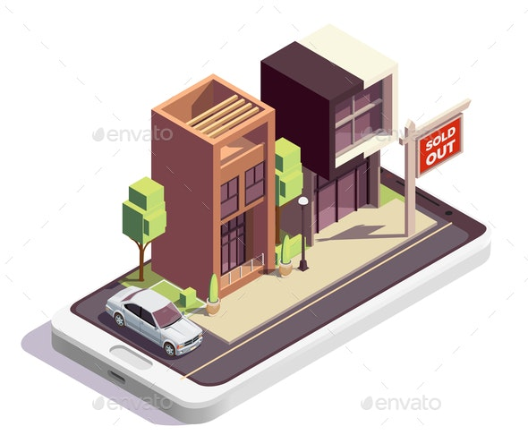 Isometric Townhouse Sale Composition - Buildings Objects