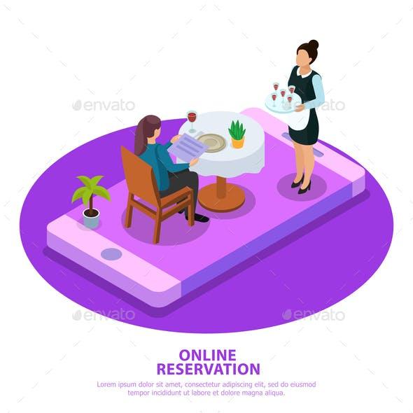 Waiter Isometric Illustration