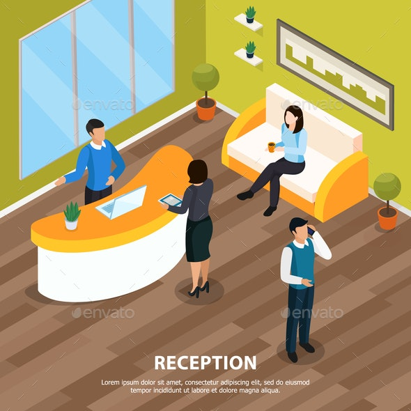 Reception Office Isometric Illustration - Business Conceptual