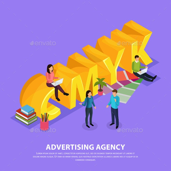 Advertising Agency Isometric Composition - People Characters