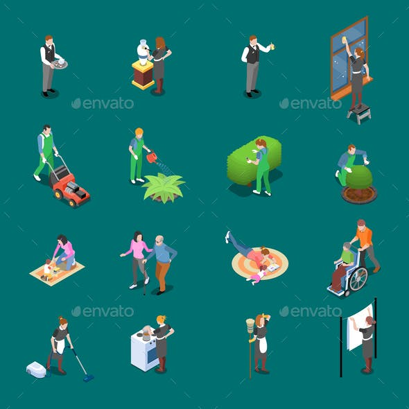 Home Staff Isometric Icons