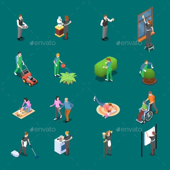 Home Staff Isometric Icons - Miscellaneous Vectors