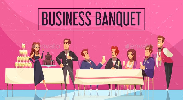 Business Banquet Cartoon Illustration - Food Objects