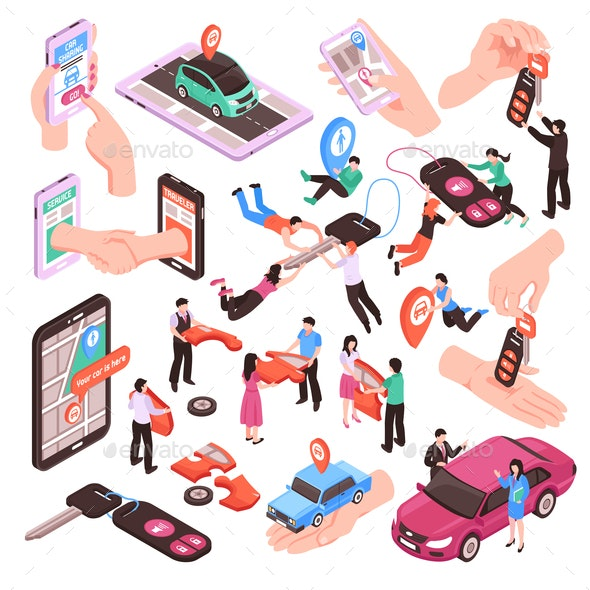 Car Sharing Set - People Characters