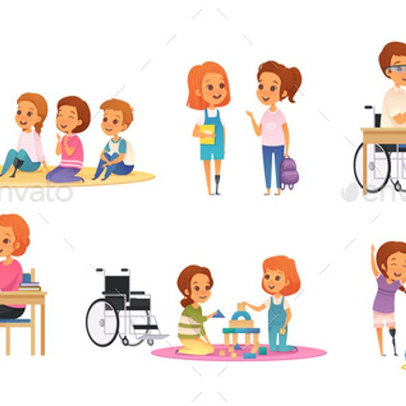 Inclusion Inclusive Education Cartoon Icon Set