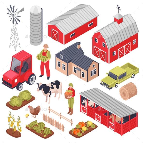 Isometric Farm Set - Animals Characters