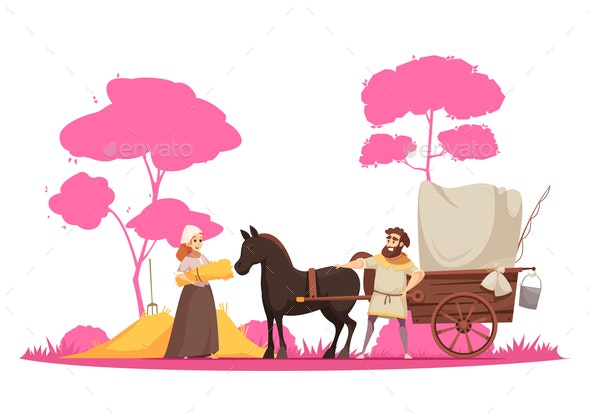 Ancient Rural Ground Transportation Illustration - People Characters