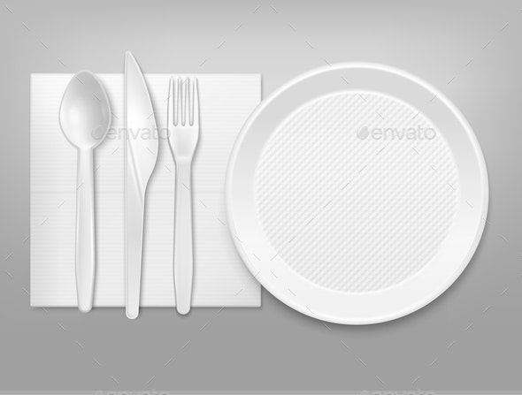 Disposable Tableware  Set - Food Objects