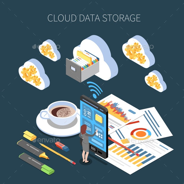 Cloud Storage Isometric Composition - Backgrounds Decorative