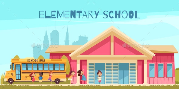 Elementary School Cartoon Illustration - Buildings Objects