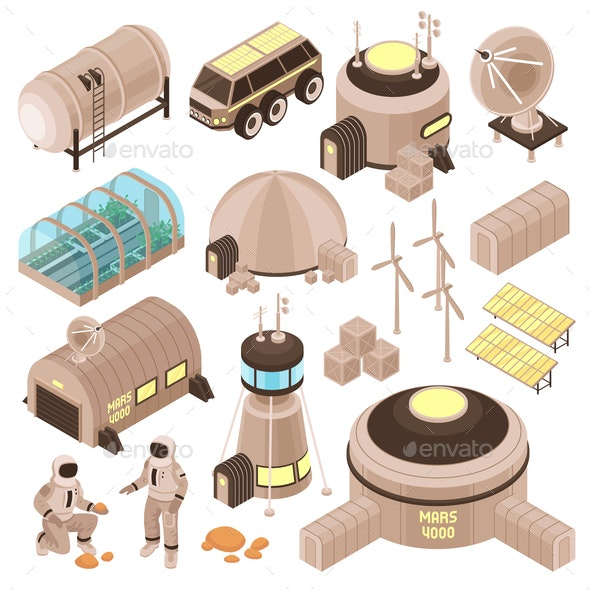 Space Base Isometric Set - Buildings Objects