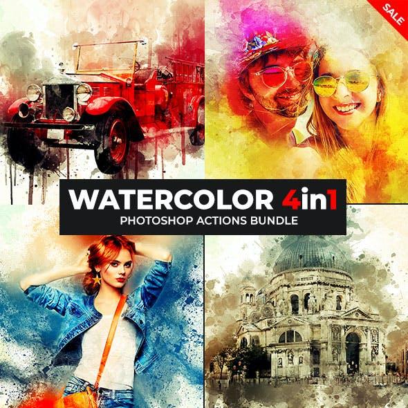Watercolor Artist - 4in1 Photoshop Actions Bundle