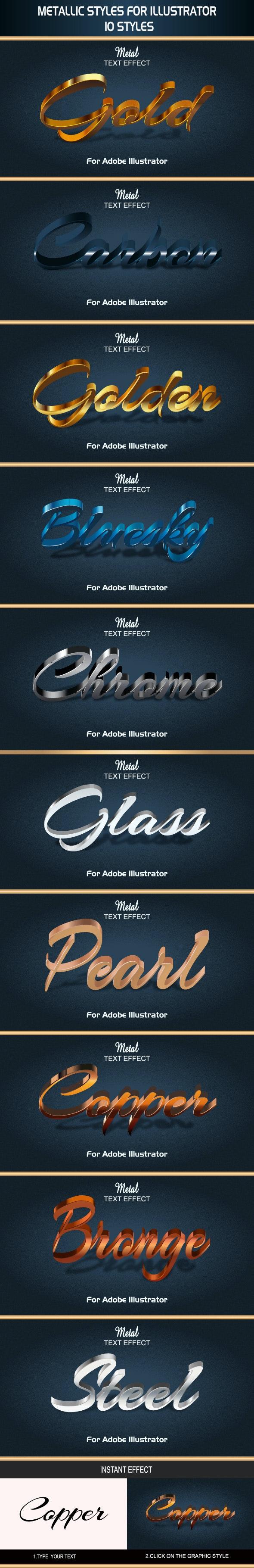 Metallic Styles for Illustrator - Styles Illustrator