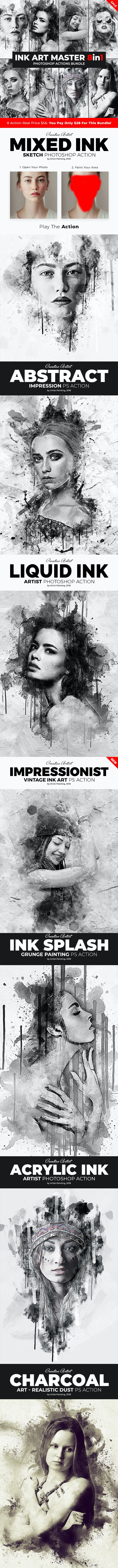 Ink Art Master - 8in1 Photoshop Actions Bundle - Photo Effects Actions