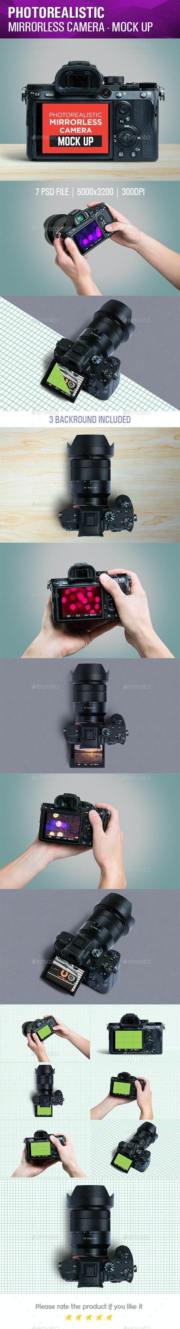 Photorealistic Mirrorless Camera Mock Up - Product Mock-Ups Graphics