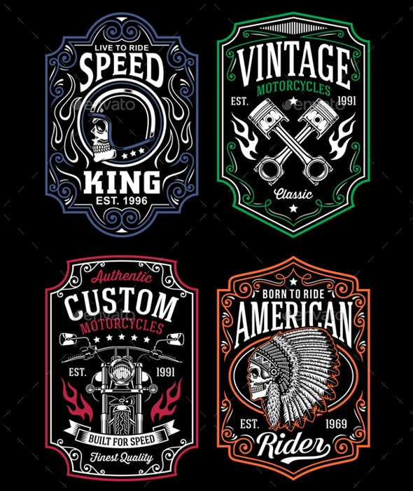 Vintage Motorcycle T-Shirt Graphic Collection - Tattoos Vectors