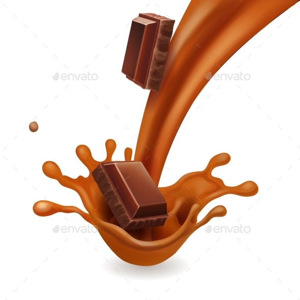 Chocolate Pieces in Liquid Caramel Splash - Food Objects