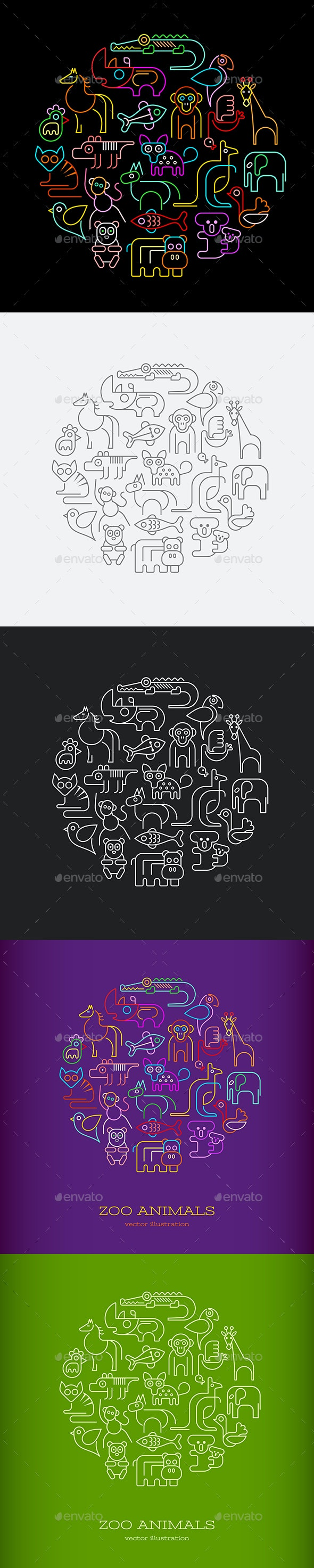 Zoo Animals Round Vector Designs - Animals Characters