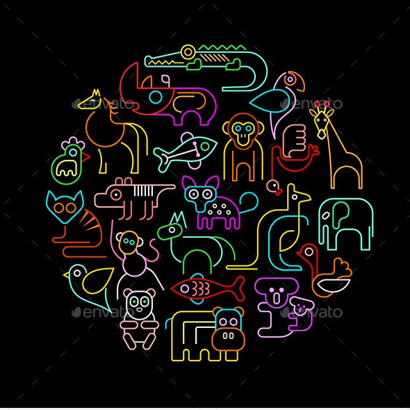 Zoo Animals Round Vector Designs