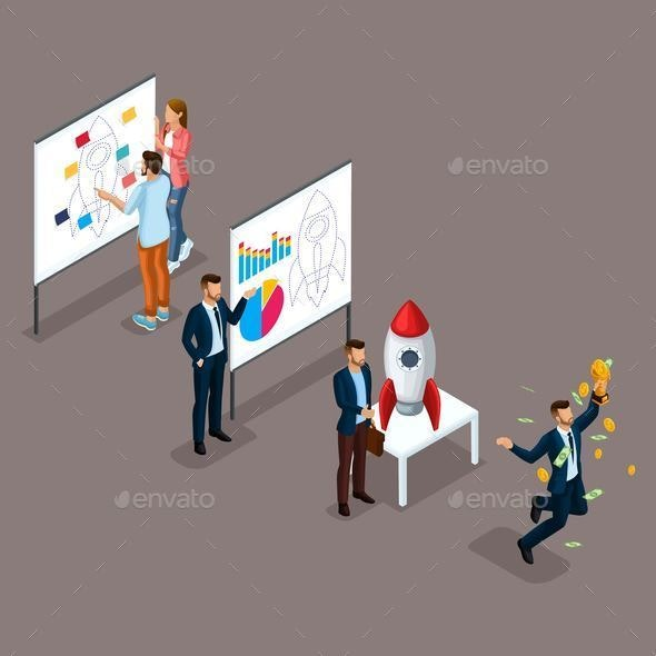 Isometric Businessman Development Startup - Buildings Objects
