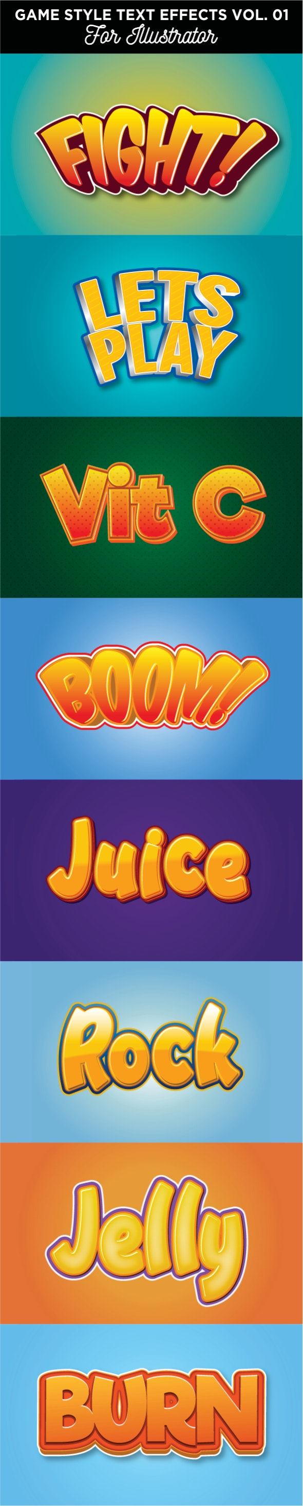 Game Style text effect for illustrator - Add-ons