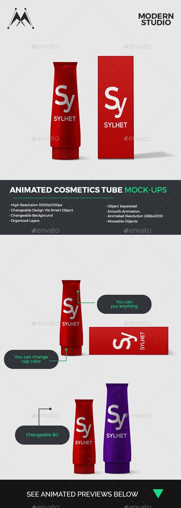 Animated Cosmetics Tube Mock-Ups - Beauty Packaging