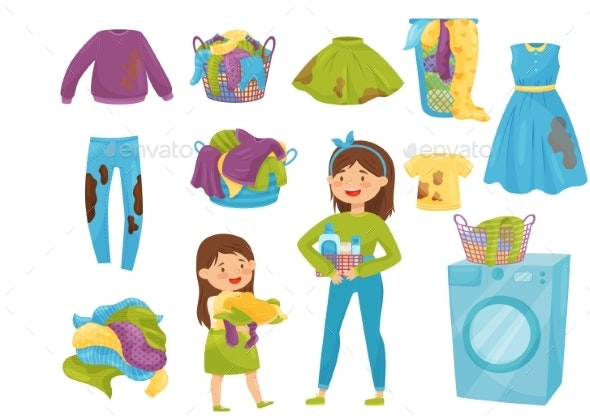 Flat Vector Set of Laundry Icons - Man-made Objects Objects