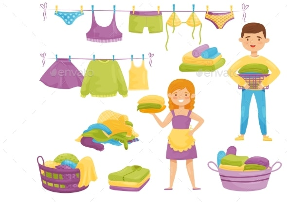 Flat Vector Set of Cartoon Laundry Icons Clean - Man-made Objects Objects
