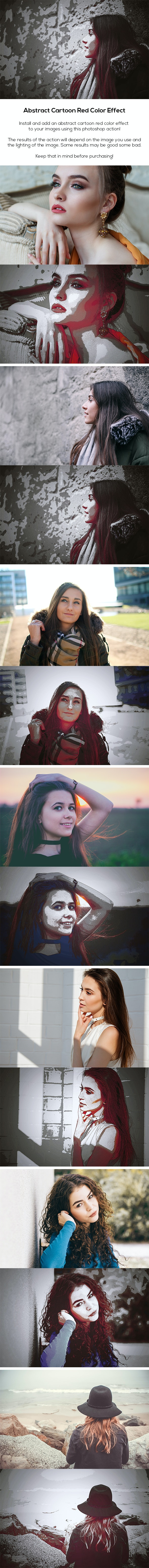 Abstract Cartoon Red Color Effect - Photo Effects Actions