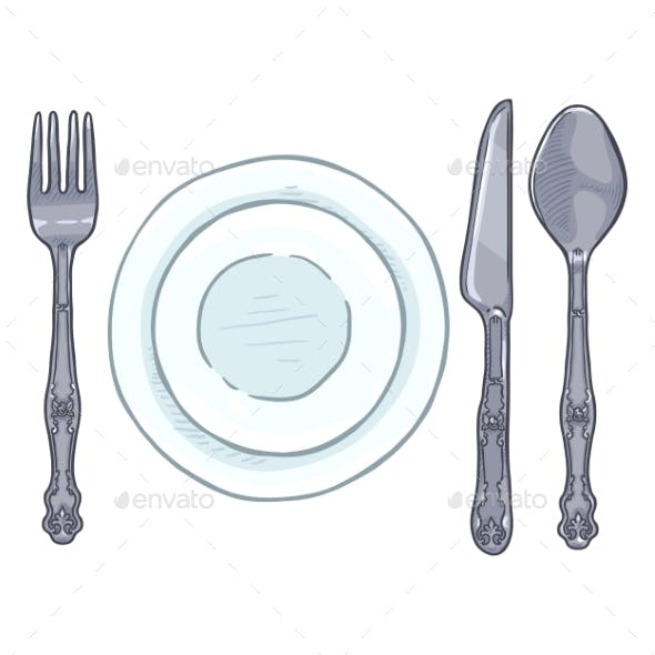 Vector Cartoon Color Dining Set Vintage Silver