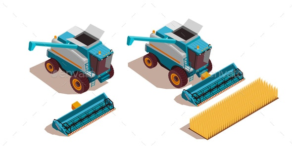 Agricultural Machines Isometric Set - Industries Business