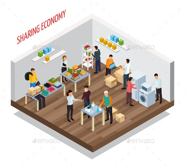 Sharing Meetup Isometric Background - People Characters