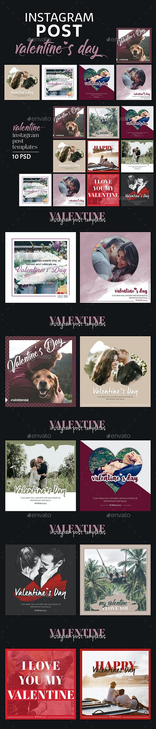 Valentines Day Instagram Post Templates - Social Media Web Elements